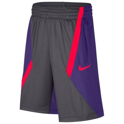 Nike Dry Boys Lacrosse Shorts-Grey-Purple-Bright Crimson