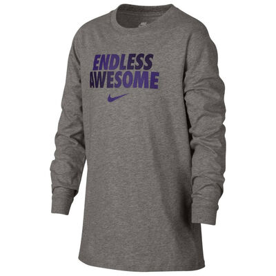 a7a0c340a1de Nike Boy Endless Awesome LS Tee- DK Grey Heather-Purple .