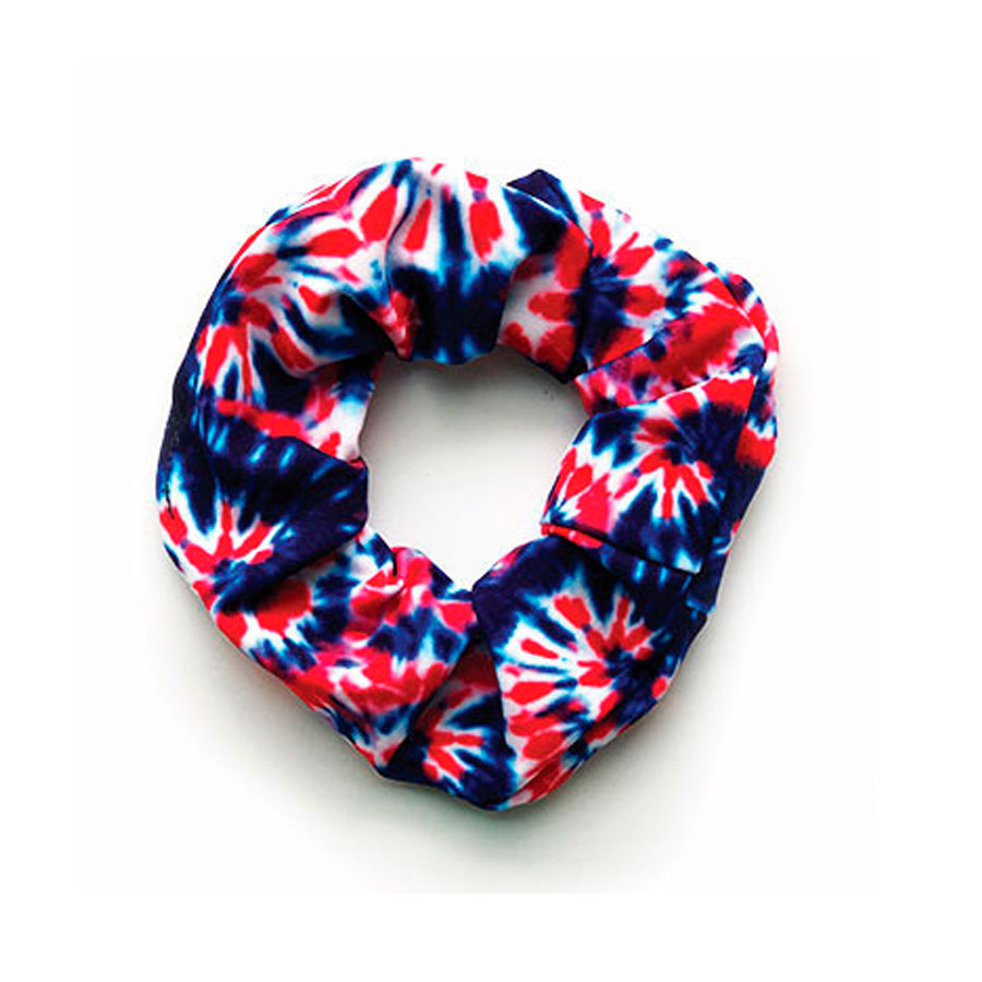 Red, White and Blue Tie-Dye Scrunchie